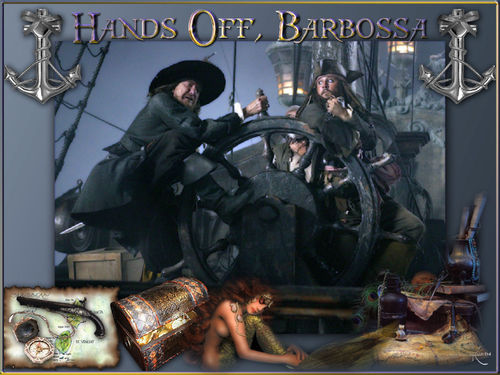 Pirates of the Caribbean wallpaper possibly containing an internal combustion engine titled Funny Barbossa & Jack!