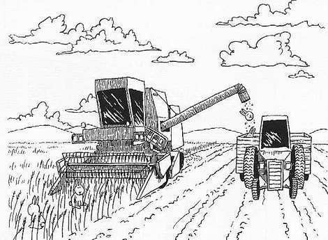 Combine Harvester Coloring Page Sketch Templates