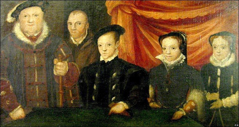 Henry VIII with his Children and Will Somers