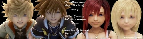 Kingdom Hearts fond d'écran with a portrait titled Kairi & Sora/ Roxas & Namine