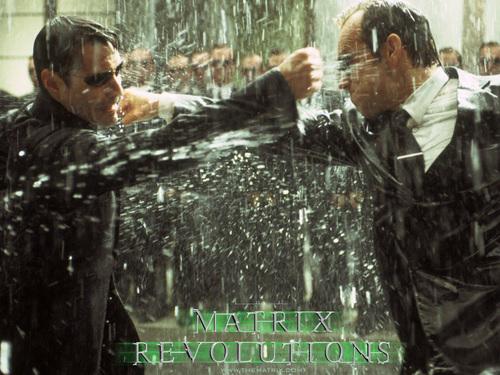 The Matrix fond d'écran with a sign called Matrix Revolutions