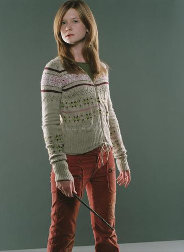 "Ginevra ""Ginny"" Weasley wallpaper possibly containing an outerwear, a hip boot, and a pullover titled OOTP Promotional"