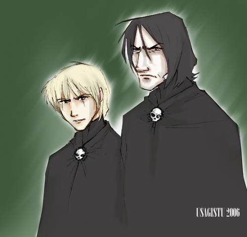 Severus Snape wallpaper possibly with a cloak and a capote called Snape and Draco