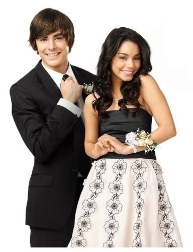 High School Musical 3 바탕화면 probably with a bridesmaid, a business suit, and a dress suit called Zanessa on HSM 3
