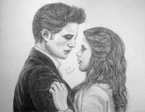 Mafuatano ya Twilight karatasi la kupamba ukuta probably containing a portrait entitled Edward & Bella Drawing