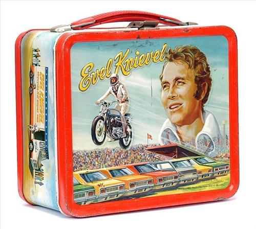 Lunch Boxes karatasi la kupamba ukuta titled Evel Knievel Vintage 1974 Lunch Box