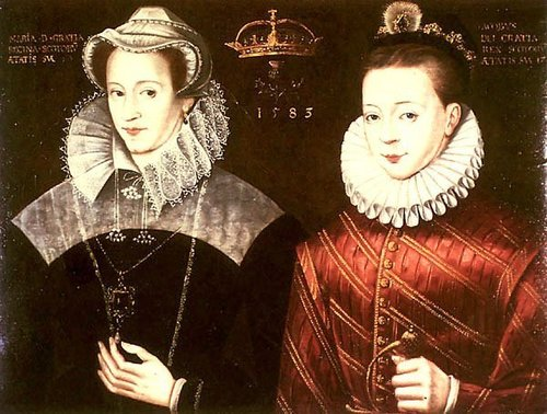 Mary क्वीन of Scots and her son, James I of England, James VI of Scotland