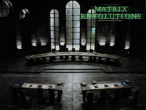 The Matrix 壁紙 probably with a penal institution and a 通り, ストリート titled Matrix Revolutions 壁紙