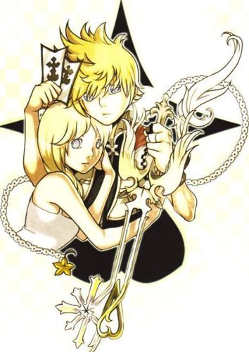 Kaharian mga puso wolpeyper probably containing anime titled Roxas and namine