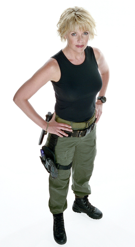 Samantha Carter Hintergrund possibly with a green beret, fatigues, ermüden, ermüdet, and a schütze titled Samantha Carter