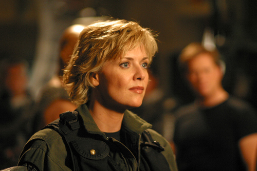 Samantha Carter achtergrond containing a green beret, veldtenue, slag bij jurk, and vermoeienissen called Samantha Carter