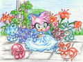 amy with chao - sonic-characters fan art