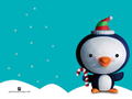 3D Christmas Penguin - christmas wallpaper