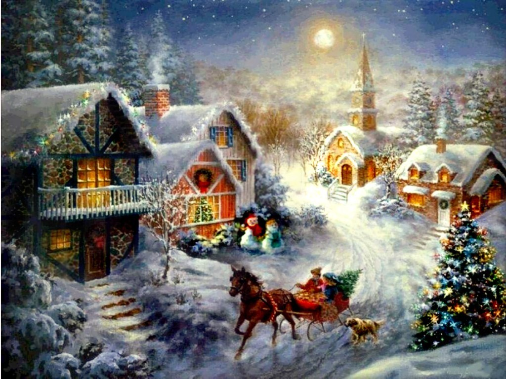old fashioned christmas town wallpaper - photo #4