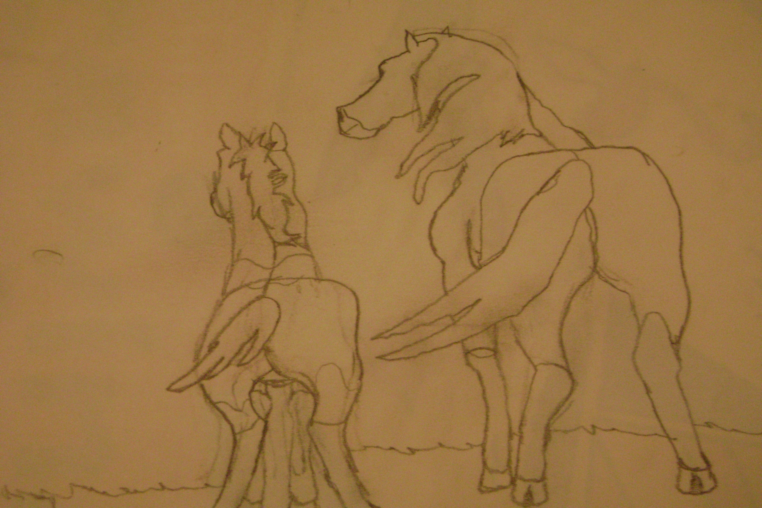 My Drawing of Spirit and his son, Bolt!