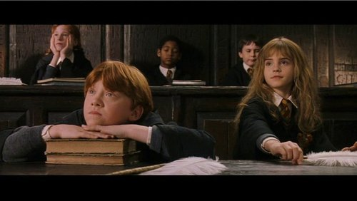 romione wallpaper probably with a sign entitled Ron & Hermione Screencaps [Harry Potter and the Sorcerer's Stone]