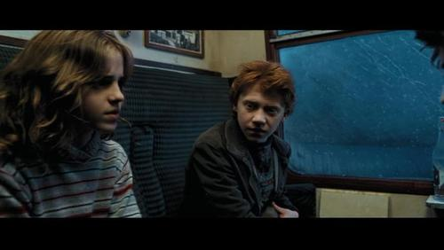 Romione wallpaper containing a television receiver and a sign called Ron & Hermione Screencaps [Prisoner of Azkaban]
