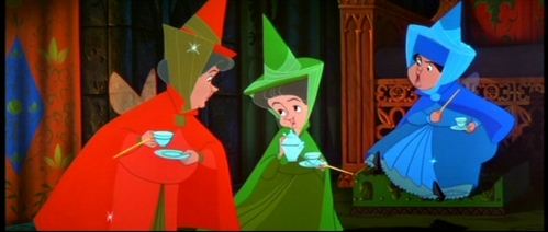 The Faries in Sleeping Beauty eat biscuits, cookies with their thé shaped like what?