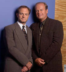 Kelsey Grammer (Frasier) and David Hyde Pierce (Niles) provide the voices for which characters in The Simpsons?