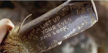 """After Eko's death, his walking stick provided Locke with a clue. The inscription said """"Lift up your eye's and look..."""""""