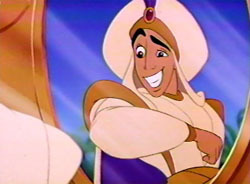 What name does Aladdin uses when he disguises as a prince?