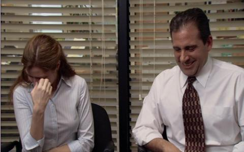What is it that Michael claims that Pam has stolen in this scene?