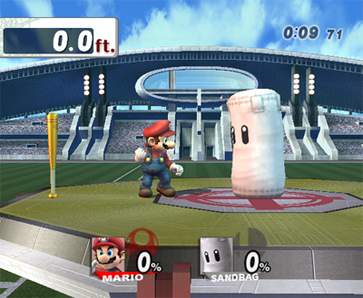 To get a Home-Run Bat trophy, how far do you have to hit the Sandbag?