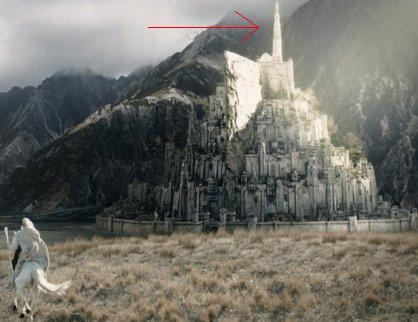 On the seventh level of Minas Tirith, how tall does the Tower of Ecthelion stand?