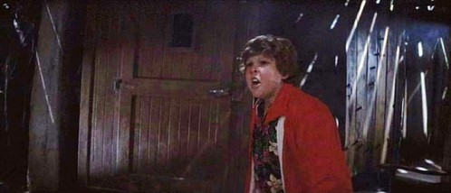 What could Chunk smell while they were in the basement?
