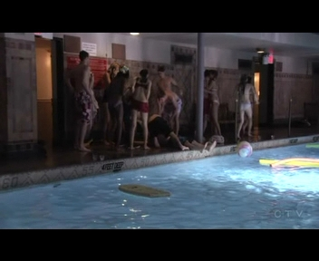 "What is the name of the boy who knocks his head into the pole and fell into the pool during the pool party in ""School Lies""?"