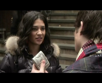 "In ""School Lies"" What did Vanessa do with Chuck's money?"