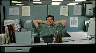 office space desk. what snack is peter eating at his desk when lumberg comes to see him right office space fanpop
