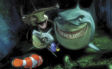 What are the names of Bruce's two shark friends?