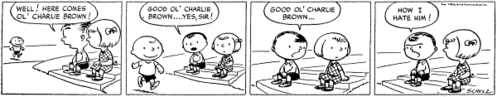 This is the very first Peanuts comic strip. In what year was it published?