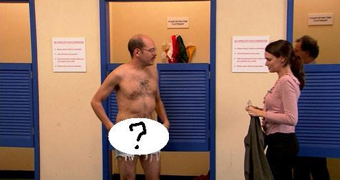 "Tobias asks the woman in the fitting room if the underwear ""effectively hide [his] thunder."" What color were the underwear?"