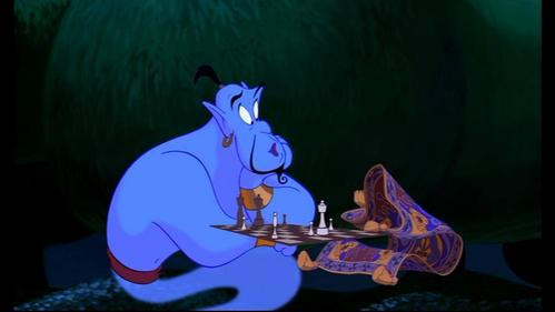 "Who does the Genie impersonate when he says ""I can't believe it. I'm losing to a rug""?"
