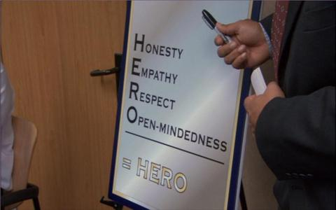 What is NOT part of Dwight's take on what a Hero is?