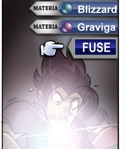 What Materia does Zack Fair get by fusing Blizzard & Graviga?