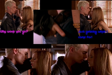 """In the epsiode """"Gone"""" Who saw Spike and Buffy were about to makeout in the kitchen. But didn't realize it?"""