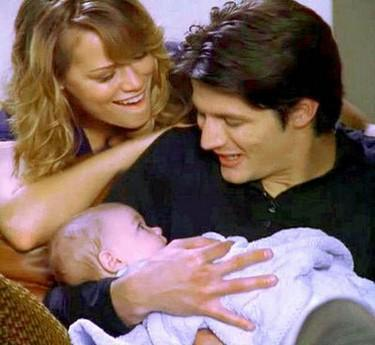 What was the first thing Haley said to Nathan when their son was born?