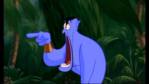 Why does the Genie look so shocked in this scene?