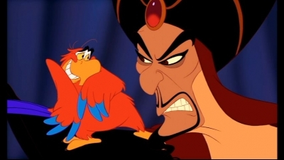 Why is Jafar mad at Iago in this scene?