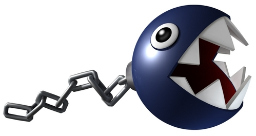 Which game's 虹 Road features Chain Chomp's roaming the track?