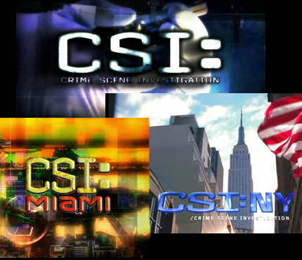 What band performs the songs used as the theme songs for each of the CSI shows?