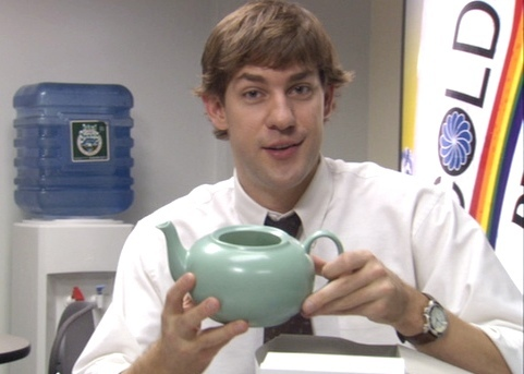 What is NOT in the teapot Jim gives Pam for Christmas?