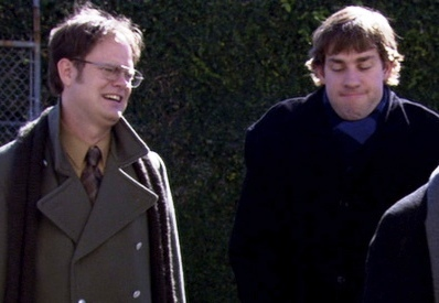 What 'Amazing Race' team name does Michael give Jim and Dwight?