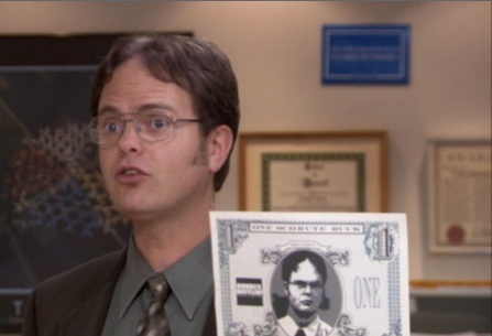 What does it say at the bottom of a Schrute Buck?