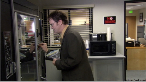 In which episode is Dwight forced to buy his own stuff from the vending machine?