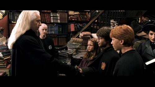 Which of Ginny's textbooks does Lucius Malfoy slip Riddle's diary into?