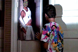 Sam has a poster of an actor on his closet door - who is it?